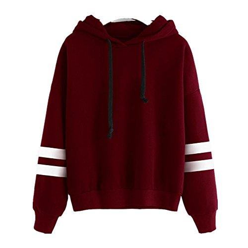 Sunnywill Lange Ärmel Hoodie Sweatshirt Pullover Kapuzen Pullover Tops Bluse für Mädchen Damen (Asien:M, Rot)