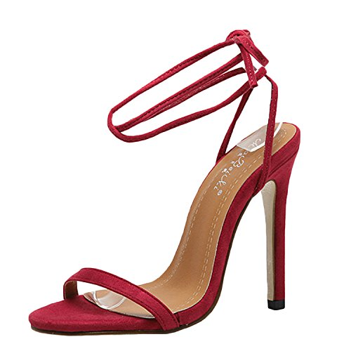 Oasap Women's Peep Toe Ankle Lace-up Solid High Heels Sandals red