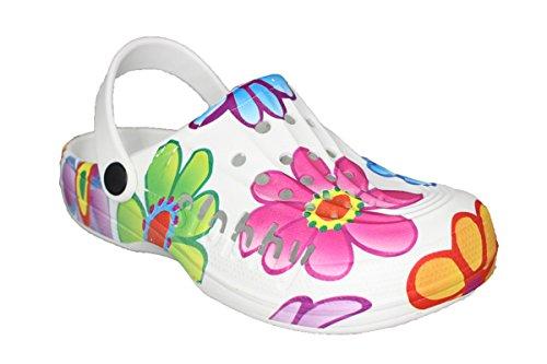 buyAzzo Damen Slobby Eva Clogs | Hausschuhe Gartenclogs | Beruf Pantoletten | Freizeit Sauna Badeschuhe | Fersen Komfort Riemen | Slipper Sandalen Schuhe | BA560 (39, Bunt)