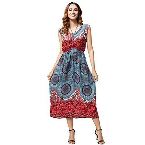 Amcool Damen Sommerkleider Vintage Boho Blumen Loose Maxi Kleid Ärmellos Strappy V-Ausschnitt Casual Party Baggy Kaftan Casual Lange Strandkleid