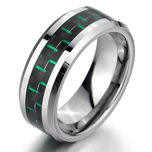 MunkiMix 8mm Wolframcarbid Wolfram Kohlenstoff Carbon Fiber Kohlefaser Ring Band Silber Ton Schwarz Grün Bequeme Passform Hochzeit Größe 70 (22.3) Herren (Herren Schwarz Kohlenstoff Faser Ring)
