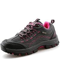 Unisex - Erwachsene Wanderschuhe Bequem Sportlich Trekking Klassische Gummi Sohle Entspannt Schnürsenkel Anti-Rutsch Abriebfest Outdoorschuhe Grau Pink 43 EU