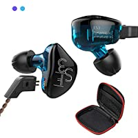 Andiker KZ Hi-Fi Headphones,1BA+1DD Hybrid Driver In-ear Earphones, Detachable Cable Heavy Bass Stereo Ear-buds with Storage Box for Music Enthusiast/Sports (ES3-C Blue, no Mic)