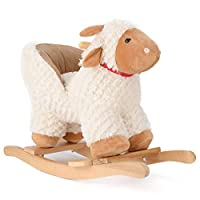 Plush Lamb Animal Rocker, Baby Rocking Horse, Toddler Ride On, Soft Padded Seat with Backrest, 18 Months to 3 Years Old