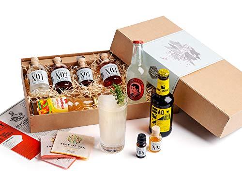 Gin Cocktail Geschenk-Set für 6 feine Gin & Tonic Interpretationen | Probier-Set mit ELEPHANT GIN & SLOE GIN aus Hamburg
