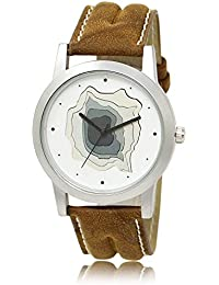 Style Keepers Amazing Stylish Sport Look Designed White Dial Stylish Brown Leather Strap Analog Amazing Stylish...
