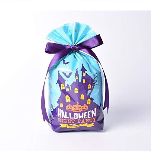 MAOYYM2 50 Halloween Kürbis Schloss Cookie Bag Candy Bag kleines Geschenk Schmuck Tasche Essen Flache Tasche