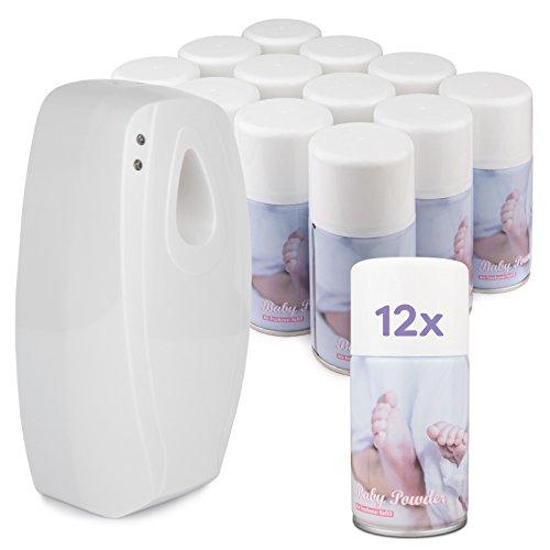 Spender für Lufterfrischer-Sprays - Starter-Pack / Einfach Programmierbar / Lange Batterielebensdauer / 1 Lufterfrischer-Spender und 12 Sprays - Babypuder (Programmierbare Lufterfrischer)