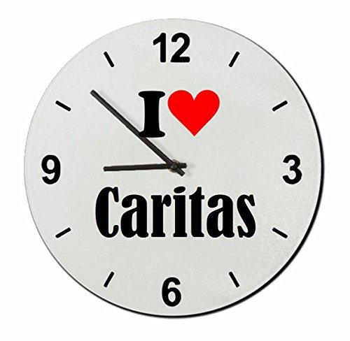 """Regali Esclusivi: Orologi da parete """"I Love Caritas"""", un Grande regalo viene dal Cuore - Ti amo - Orologio vetro - Punte di Natale"""