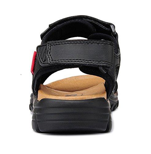 dqq hommes en cuir de santal Sangle Velcro Noir - noir