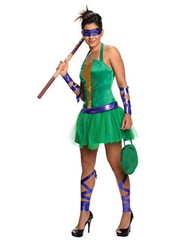 Teenage Mutant Ninja Turtles, Donatello Kostüm Damen-Kostüm, Größe S, (UK 6-10) Brust, USA, 36- 96.52 cm, Taille 27- 76.20 cm; Innennaht 73.66 (Kostüm Movie Tmnt)