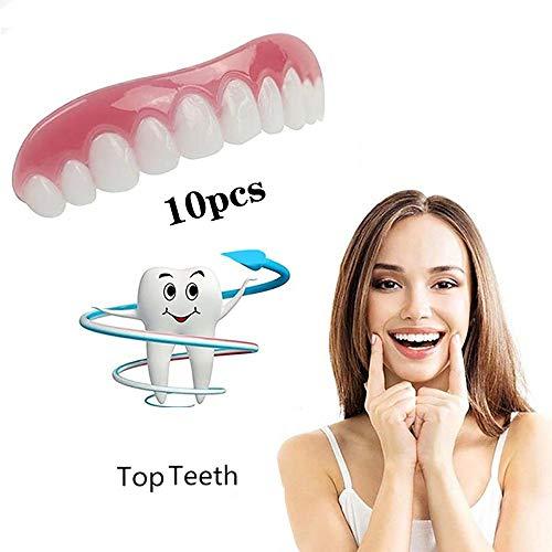 LIZONGFQ 10 Stücke Gefälschte Zähne Oberen Falschen Gefälschten Zahn Abdeckung Snap on Sofortige Zähne Kosmetische Prothesenpflege Mundpflege Silikon Whitening Prothese