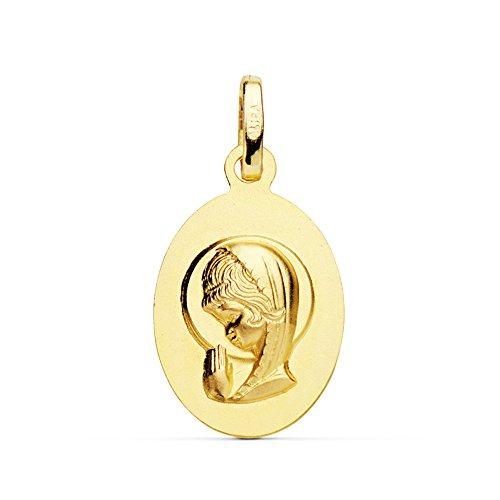 Medalla Virgen Niña Oro Amarillo 18 Ktes 19mm - Joya Personalizable, Grabado gratuito