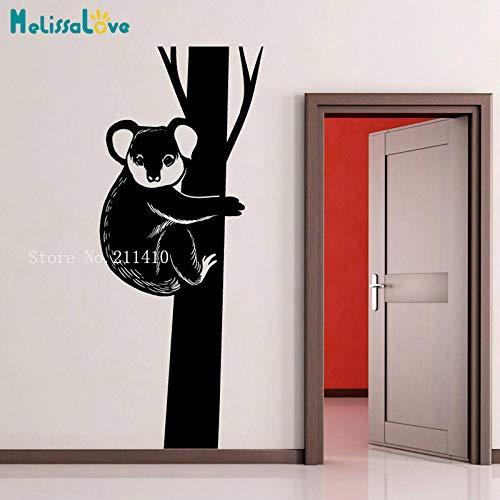 zhuziji Vinyl Wall Decal Aufkleber Koala In Tree Decal Schöne Wohnkultur Wohnzimmer Schlafzimmer selbstklebend Als Geschenk Kunstwand weiß 56x137cm