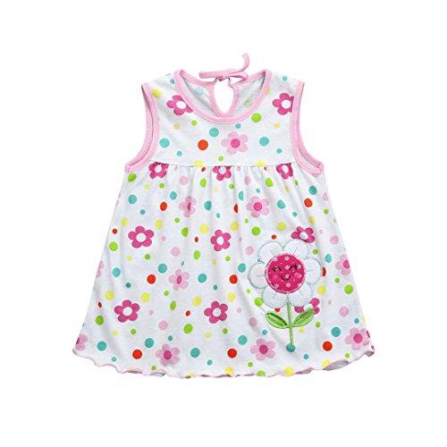 Neugeborene Kleider, Longra Baby Kleider Mädchen Kleider Baumwolle Blume Kleider im Polk Dot Look Baby Ärmelloses Kleid Sommerkleider Tanktops Tankshirt T-Shirt Kleider (A, 70-100CM 0-24Monate)
