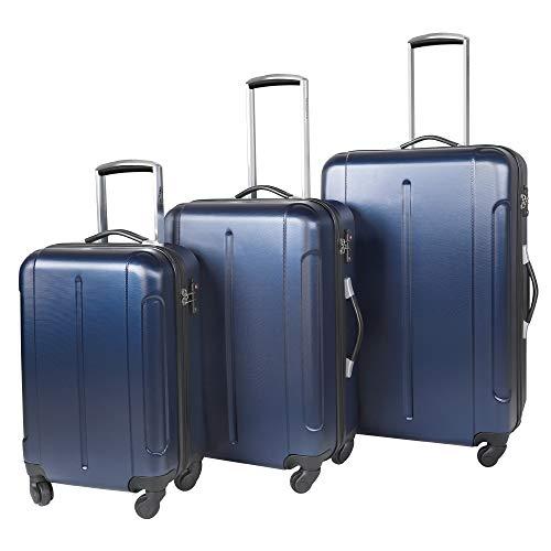 Vesgantti 3 Piece Suitcase Luggage Set with TSA Lock- Anti-Scratch Lightweight 4 Wheel Hard Shell Travel Tripp Spinner Case (20/24/28 Inch, Navy Blue)