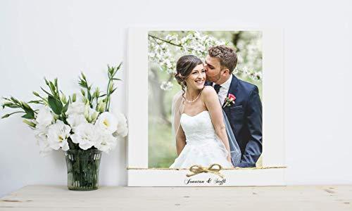 Fotogeschenk auf Holz in weiß mit Foto u. Text