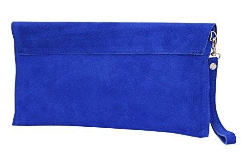 AMBRA Moda Damen Wildleder Envelope Clutch Handschlaufe Handtasche Schultertasche Unterarmtasche Damentasche Veloursleder WL801 Royalblau