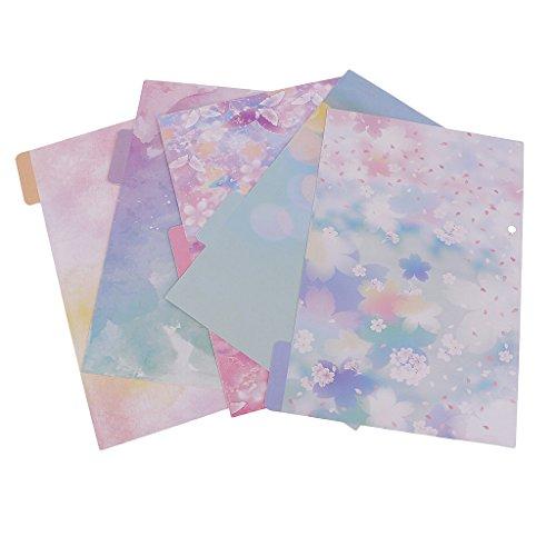 MagiDeal 5 Stück Bunte Tabbed Paper Planer Teiler Indexseite Registerkarte A5 Notebook - Blütenkirsche - Registerkarte Teiler