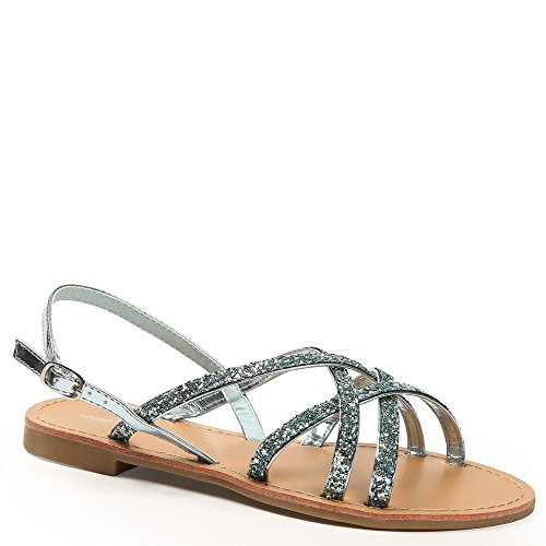 Ideal Shoes – Sandali con cinturini incrociati e strassées Maira Blu