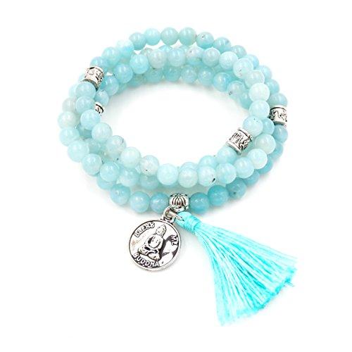 Perline mala braccialetto, rosario buddista, tassel braccialetto, buddha mi benedica collana (amazzonite)