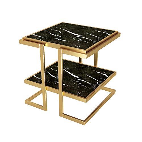 ZHIRONG 2 Tier Beistelltisch Nordisch Quadrat Marmor Couchtisch Wohnzimmer Iron Art Sofa Tisch Schlafzimmer Nachttisch, 20,8\'\'x20,8\'\'x20,8\'\' (Farbe : Schwarz)