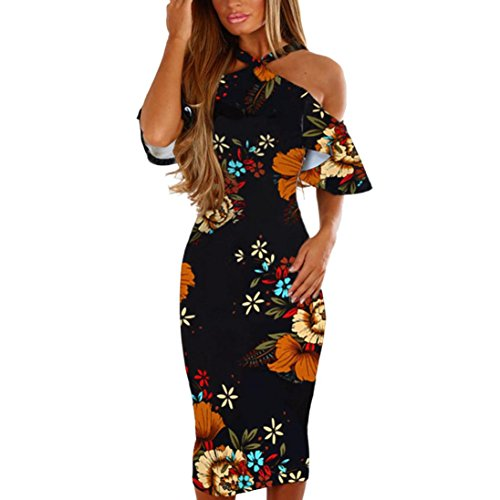 SMILEQ Women Halter Long Maxi Dress Printing Cross Off Shoulder Sundress Evening Party Ball Gown Elegant Ruffles Skirt