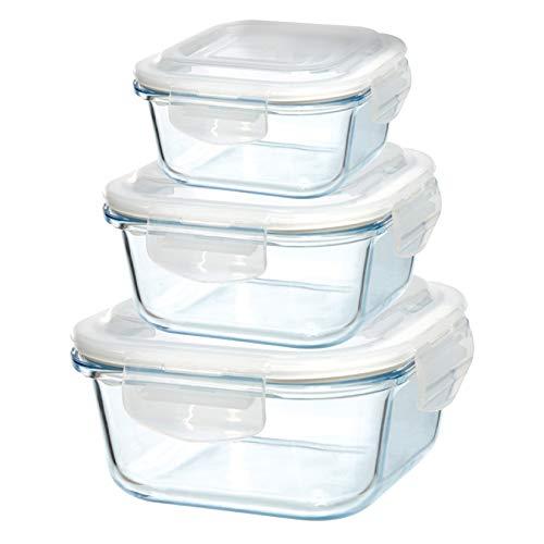 Grizzly contenitore per alimenti in vetro - set da 3 - misure differenti - quadrato adatti per forno - frigo e congelatore - ermetico anti perdite - lavabile in lavastoviglie - senza bpa