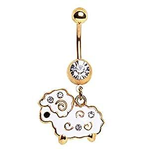 Clair Cristal Blanc de mouton en laine d'agneau avec pendentif en cristal Plaqué or-BJ Piercing nombril.