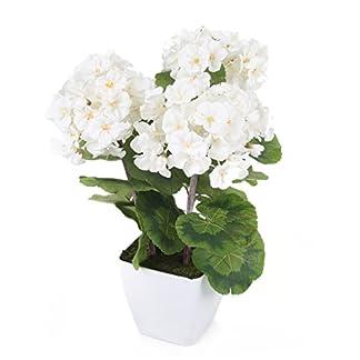 Closer To Nature–Ramo de flores artificiales 1ft blanco zona geranio planta–seda Artificial Plant y rango de árbol