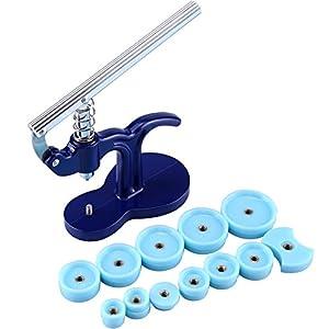Cocoarm Uhr Einpresswerkzeug Uhrwerkzeug Gehäuseschließer Einpresswerkzeug Uhrendeckelpresse Uhr Reparatur Werkzeug mit 12 Druckplatten Kunststoffeinsätze Blau