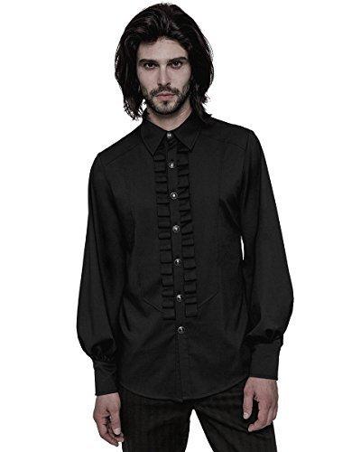 Punk Rave Mens-Gotik Hemd Schwarz Steampunk Regentschaft Viktorianisch Gentleman VTG - Schwarz,...