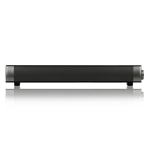 Barre de son TV, mini Haut-parleur Bluetooth 3.0 sans fil 10W Stéréo avec Subwoofer Pour Computer Smartphone, couleur noire