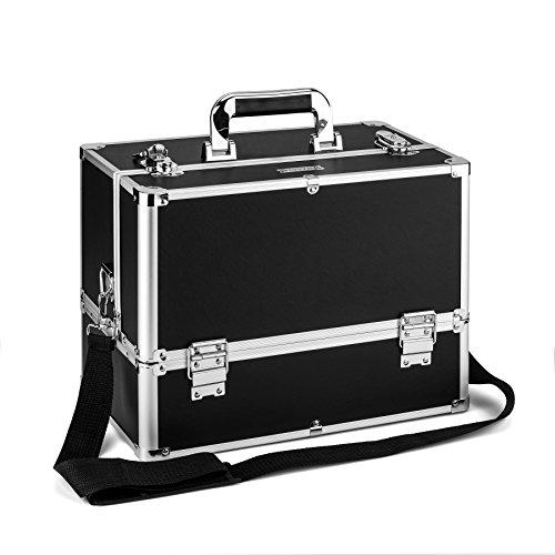 AMASAVA Beauty Case da Viaggio, Cofanetto Trucco,valigia Trucco , Caso Cosmetici,36.5 x 22 x 27 cm, PVC, Serratura, 6 vassoi, con tracolla, Nero