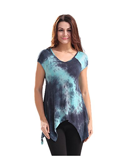 Ärmel Eleganz Show Shirt (Good dress Weibliches beiläufiges abbindgefärbten T-Shirt,Bild - farbe,L)