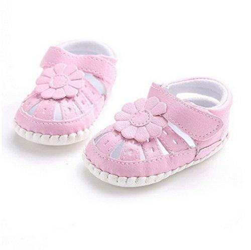 ACMEDE - Chaussures Sandales Premiers Pas Antidérapant Souple Motif Fleur Pour Bébé Fille Rose