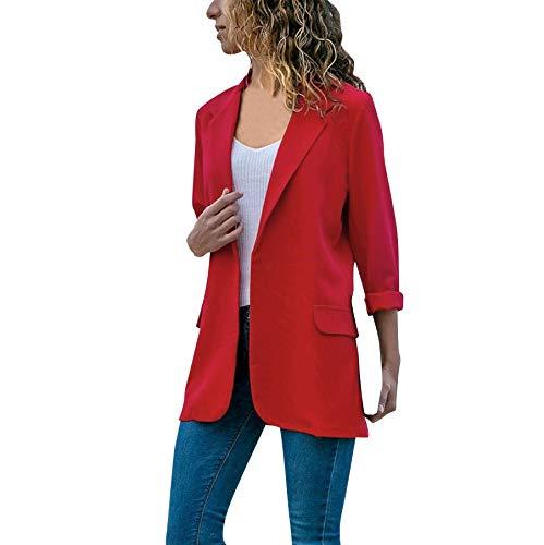 Mujeres Blazer Elegante Oficina Traje de Chaqueta Outwear Casual STRIR (rojo, XXL)