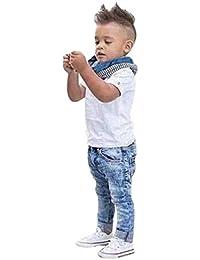 Conjuntos Lindo Bebe Niño,Sonnena Botones T-Shirt Manga Corta Camiseta Top + Jeans Pantalones Largos + Bufanda Traje Ropa Conjuntos