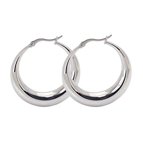 Vnox Edelstahl Hollowed New Moon Adapt Hoop Ohrringe für Frauen