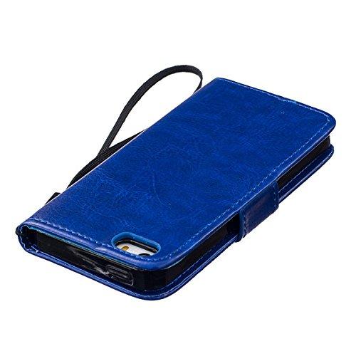 sibaina Étui pour téléphone portable Samsung Galaxy, étui à rabat en cuir PU pour Samsung Galaxy S6S6Edge Plus S7Plus, Cuir synthétique Cuir, vert, For Iphone6 6s plus bleu
