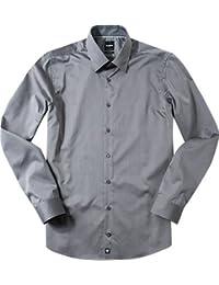 Strellson Premium Herren Hemd Baumwolle Oberhemd meliert, Größe: 38, Farbe: grau