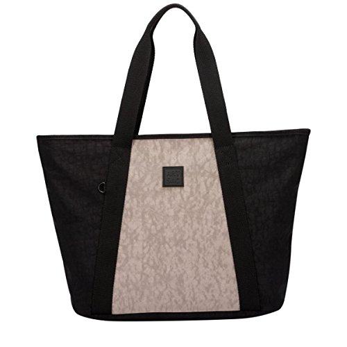 Große Beach Tote Bag (Großer Shopper Bag Beach Bag Twin Strap Paneled Zwei Tone Nylon Tote Bag (Schwarz grau))