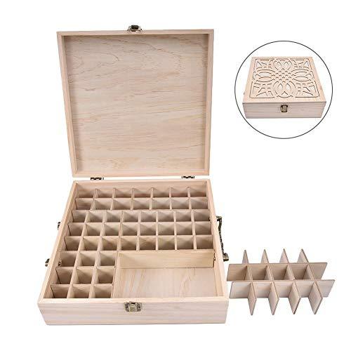 Sunnyushine 62 Slot Essential Oil Bottle Wooden Box Aromatherapy Essential Organizer Wood Storage Case Holds 5 Ml, 10 Ml, 15 Ml and 115 Ml Essential Oil Case Storage Box Holder Organizer