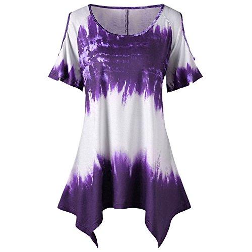 r Causal T-Shirt Tops Rundhals Kurzarm Unregelmäßiger Krawattenfärben Freizeit Blusen Oberteile Tunika Tees Plus Size ()