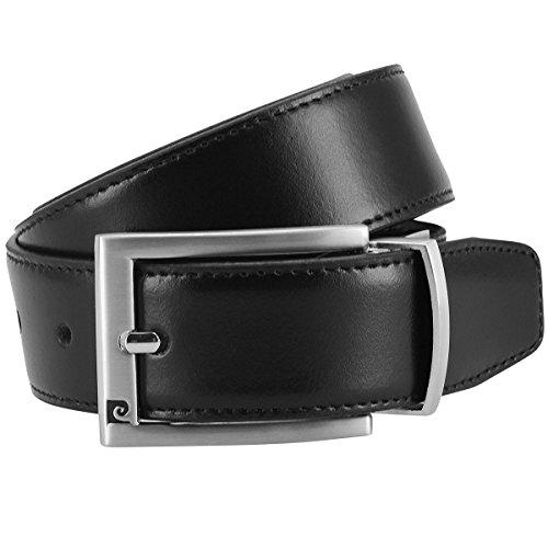 Pierre Cardin Mens leather belt / Mens belt, leather belt reversible,black-dark brown, Size:95