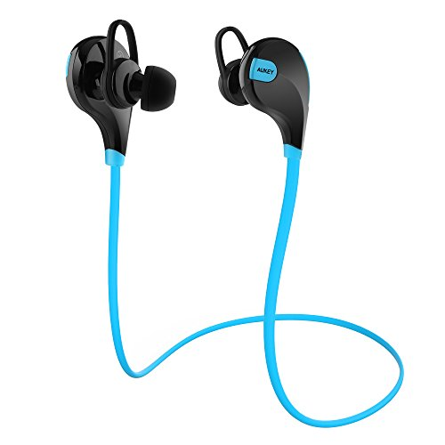AUKEY Auricolare Bluetooth 4.1 Cuffia Stereo Sport in ear con Microfono per Telefoni Cellulari di iOS e Android iPhone Samsung e Altri Dispositivi come iPad Tablet Computer (Blu e Nero)