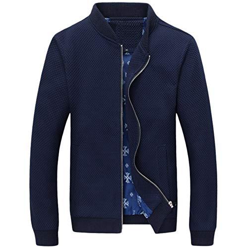 Cashmere-shirt-jacke (Yra Strickwaren Cardigans Herren Jacken Plain Farbige Stehkragen Baseball Abnutzung Jugendliche Casual Homewear Mäntel Für Outdoor Täglich,Blue-4XL)