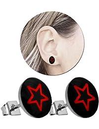 19d9523711df 2 Pendientes Aretes Piercing mujer hombre disco estrella negro rojo