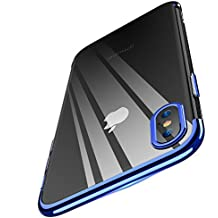 FLOVEME Iphone X case, Super Soft Luxury [Slim-Fit] [Anti-Scratch] Ultra Thin Lightweight Soft TPU Full Protective Case for iphone X, Transparent blue