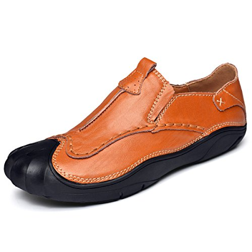 LYZGF Men Youth Casual Set Of Feet Handmade Fashion Allacciatura Scarpe In Pelle Pigri Brown1